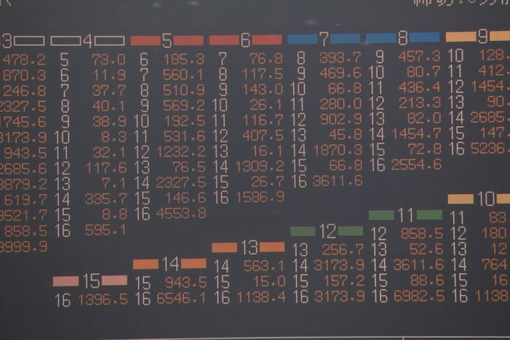 Picture of a racing tote board showing the betting odds for an exacta wager.