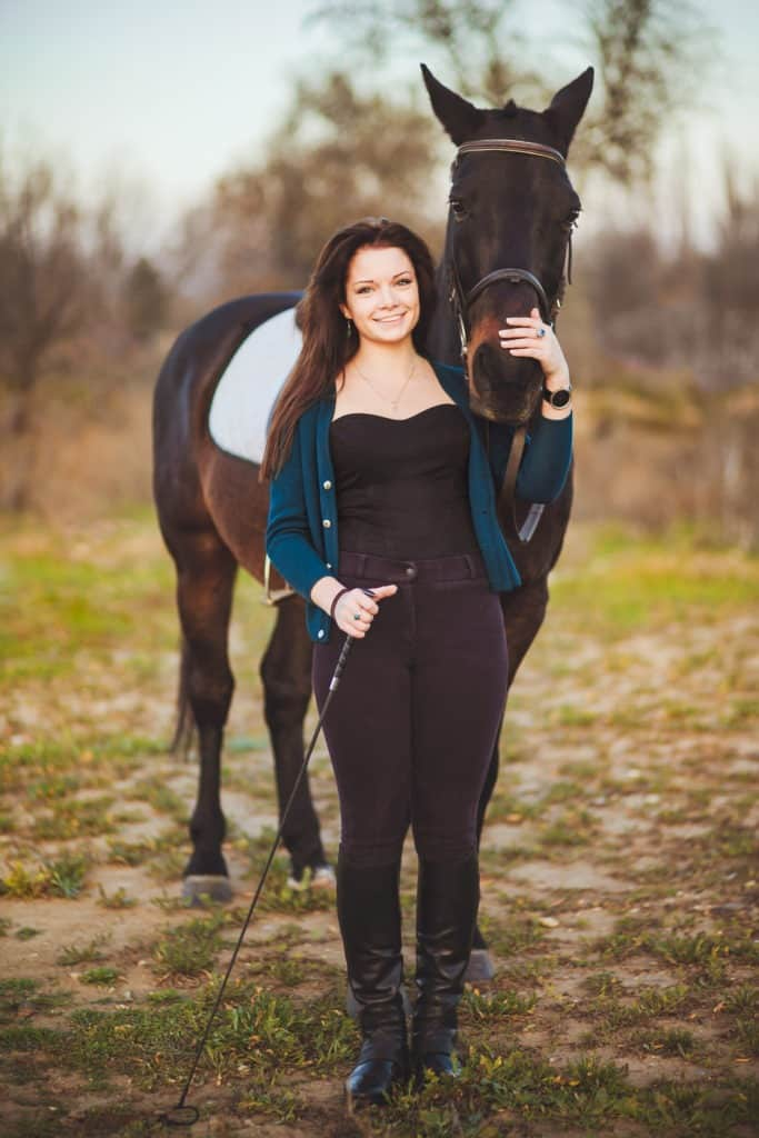 Picture of a woman with her horse.