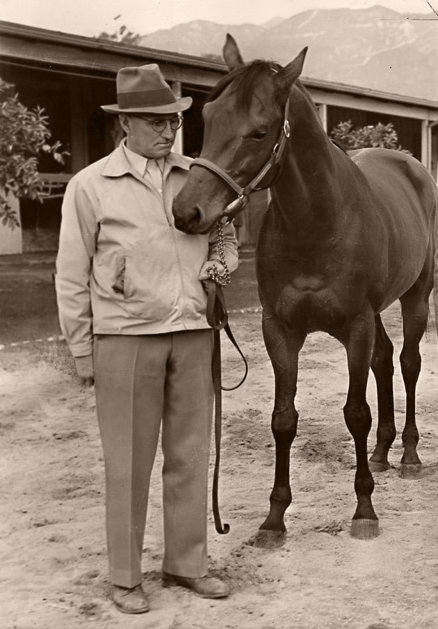Vintage picture of Seabiscuit and his owner