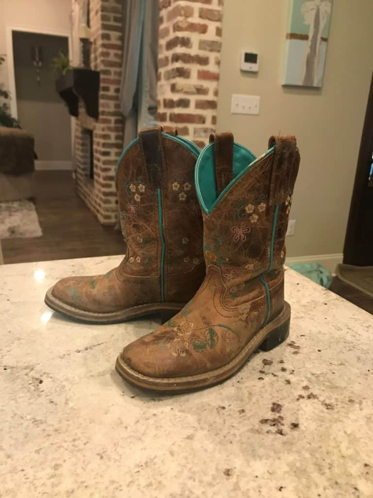 picture of my granddaughters' smoky mountain cowboy boots,