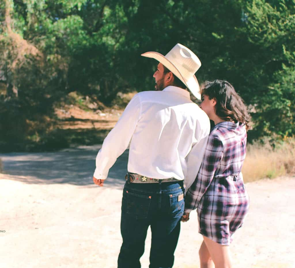 picture of a man wearing a cowboy hat with a woman, cowboy boots, under $100