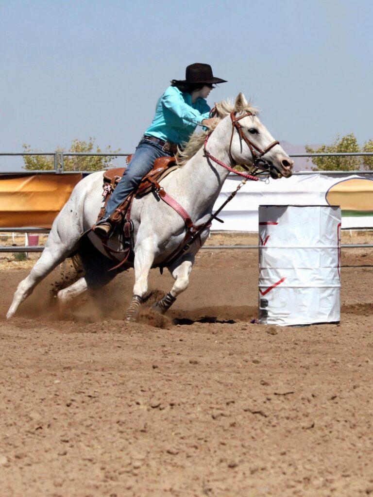 picture of a horse barrel racing,