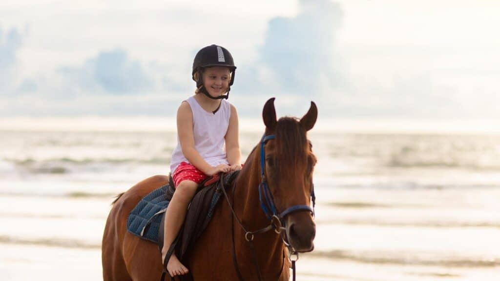 Picture of a young horseback rider,
