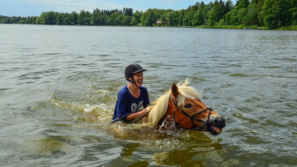 Picture of a rider on a horse swimming.