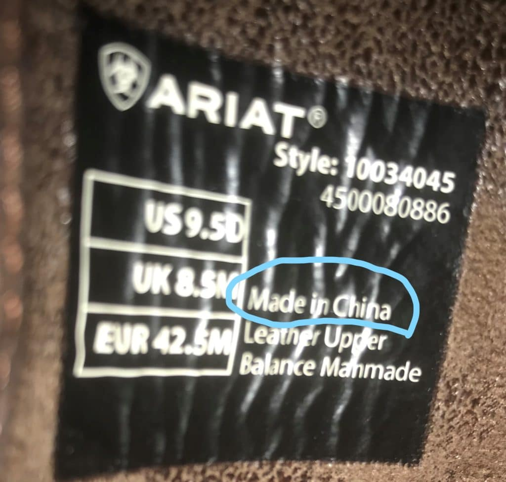 picture of the tag inside my Ariat boots showing they are made in China,