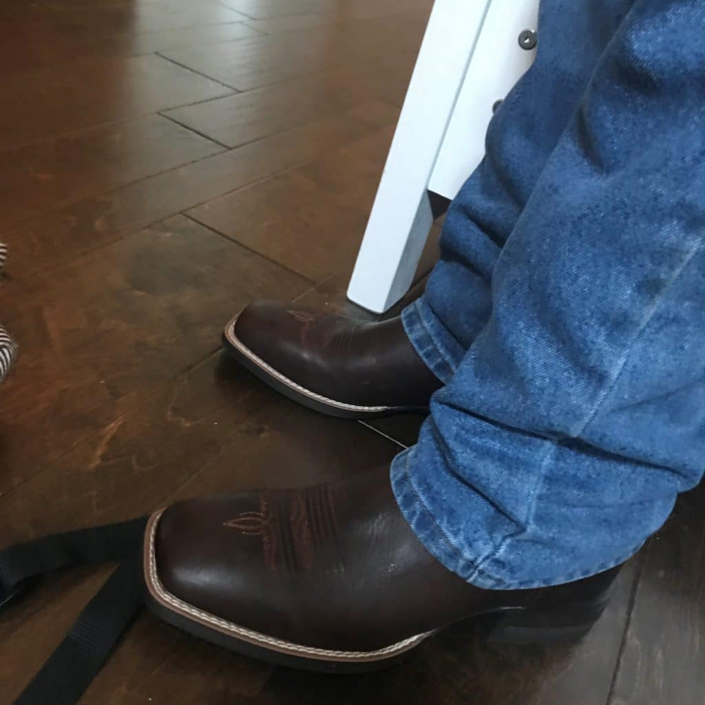 Picture of me in my Amos square toe cowboy boots