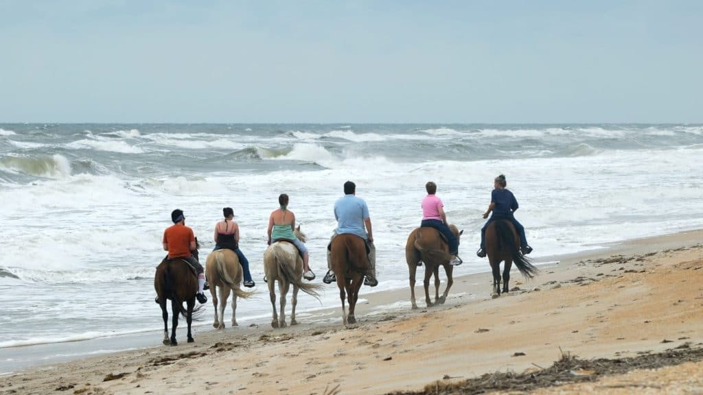 picture of a group of people riding horses on the beach, beaches, horses,