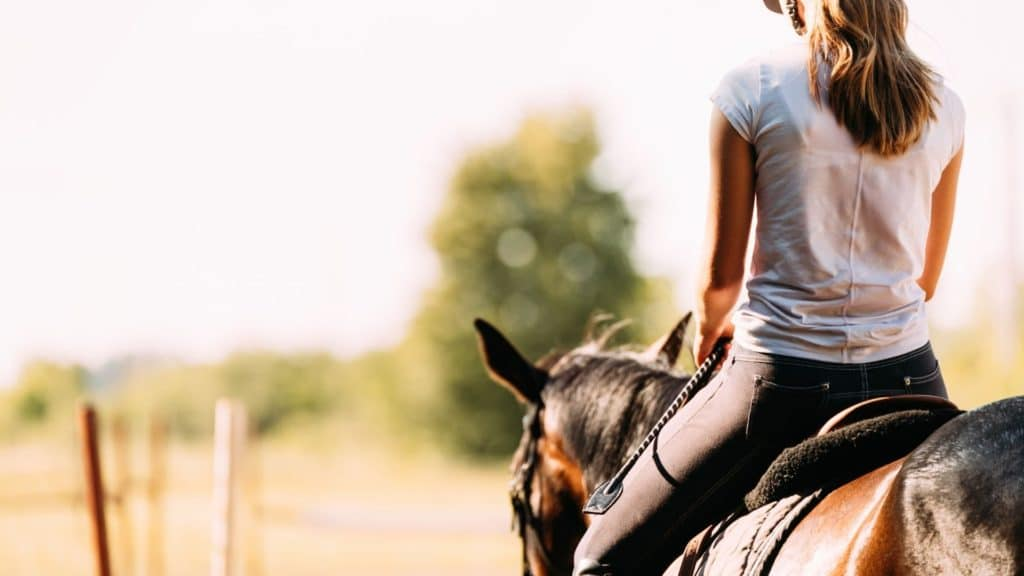 Picture of a woman sitting on a horse.,