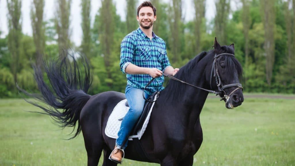 riding a horse,
