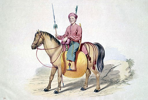 picture of an warrior riding a manipuri horse,