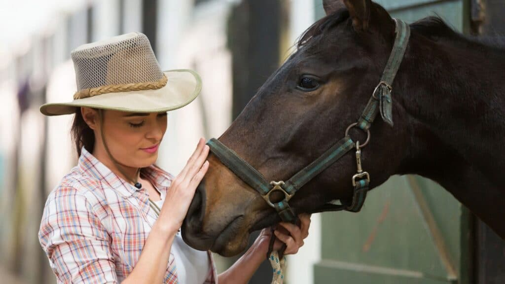 picture of a woman and a horse, she may be wondering what words the animal understands,