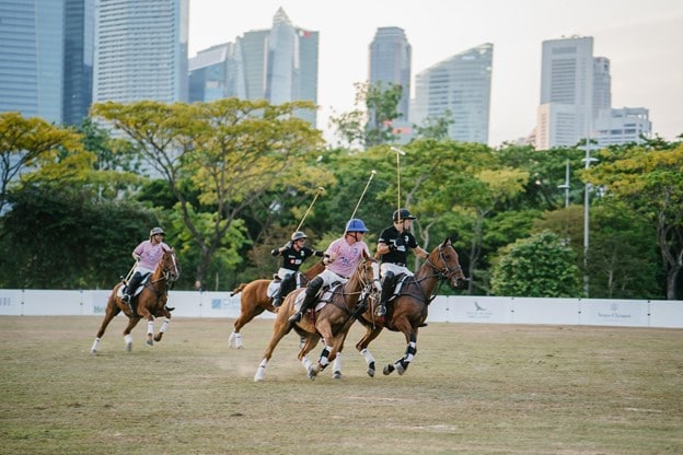 Picture of players on horseback playing polo,