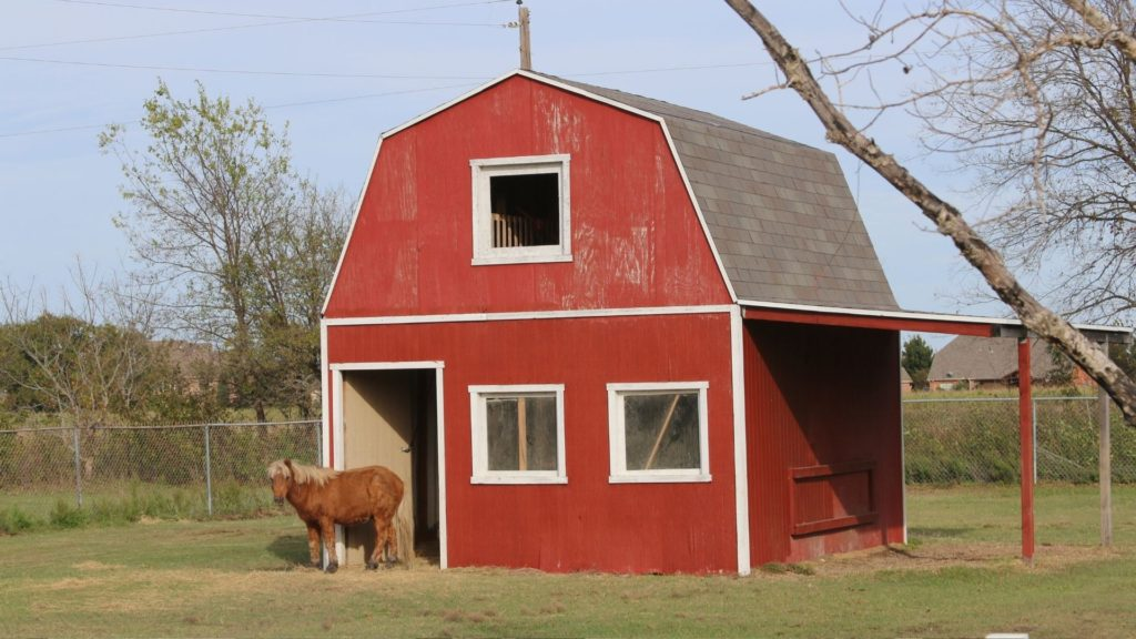 Picture of a gambrel horse barn,