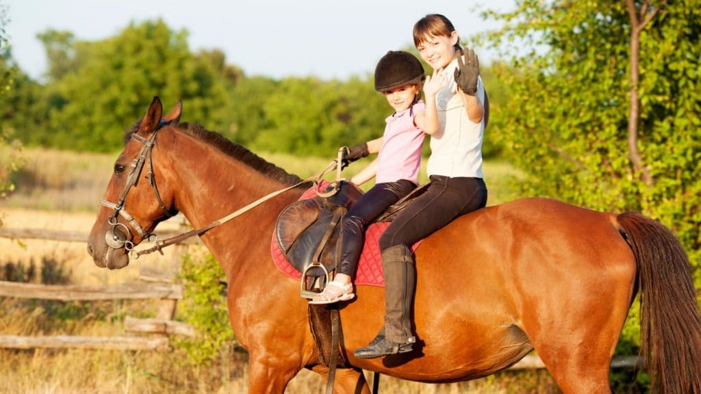 Picture of two children riding a horse,