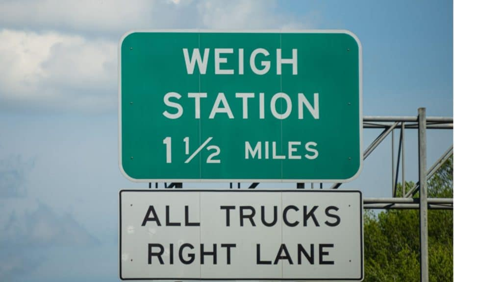 Picture of a weigh station sign,