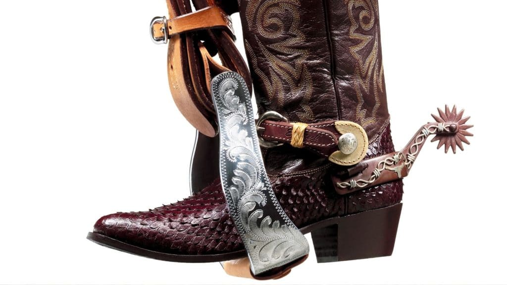 Picture of a pointed-toe cowboy boot in a stirrup.
