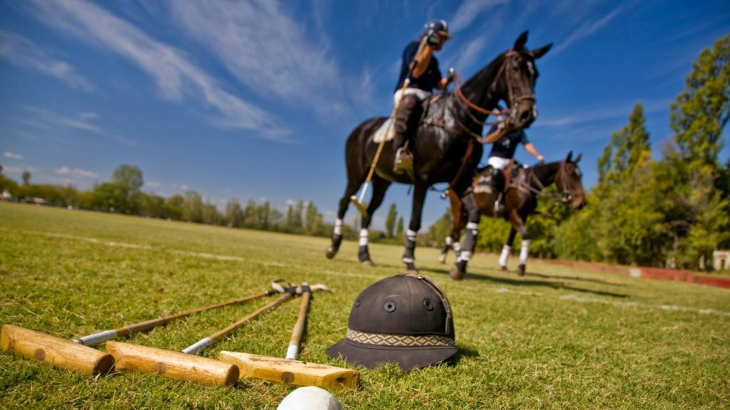 Picture of polo players and their equipment,