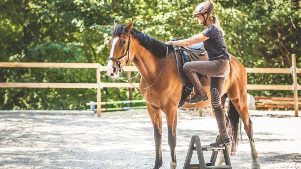Picture of a woman stepping into a stirrup to mount her horse.
