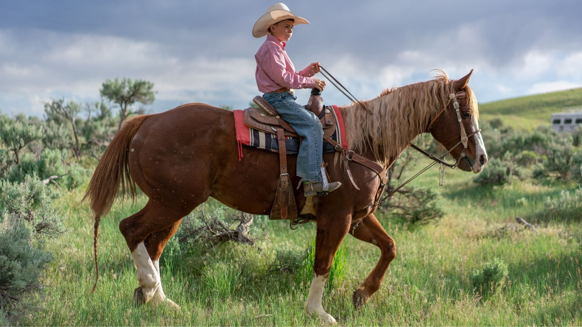 Picture of a boy riding a horse and wearing cowboy boots.