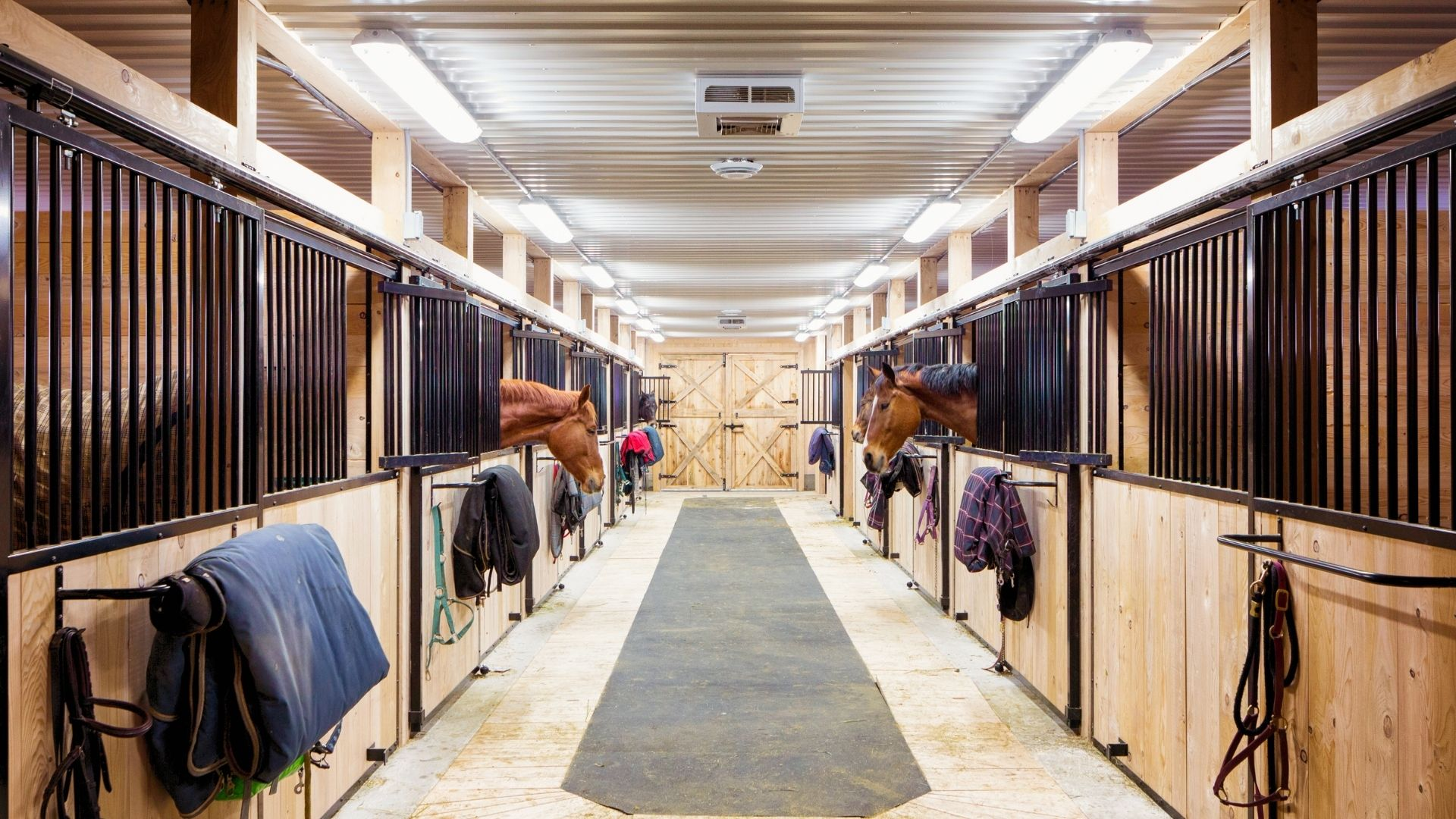 Picture of a horse barn with a rubber mat.