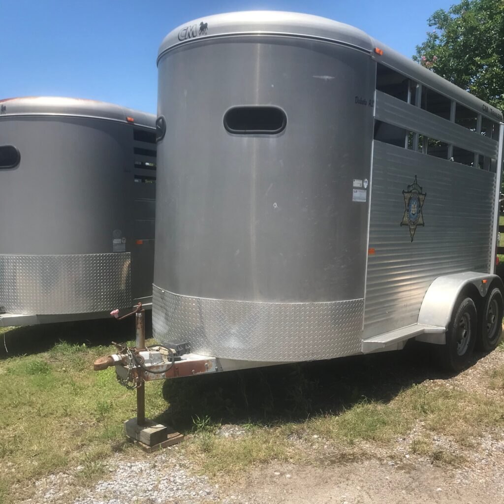 Picture of a basic two-horse trailer.