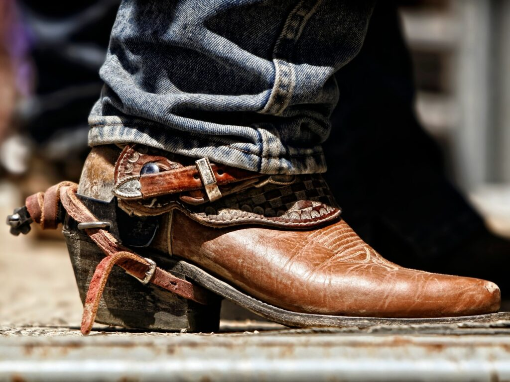 Picture of real cowboy boots with spurs